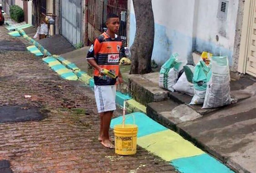 Gabriel Jesus painting 5 years ago for Brasil World Cup