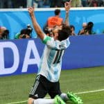 Messi looking to the sky after goal vs Nigeria