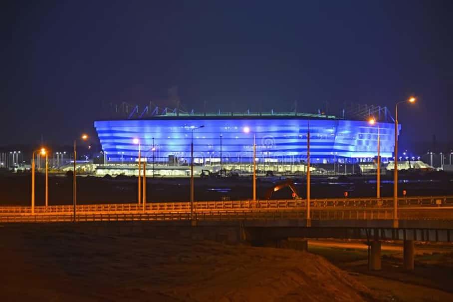 Kaliningrad russia evening illumination baltic arena stadium holding games fifa world cup 2018 Russia