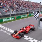 Sebastian Vettel finish line first postiion Cnadian Grand Prix