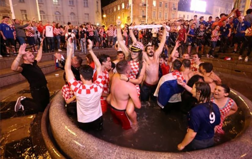 Croatia fans after winning vs England World Cup semi final