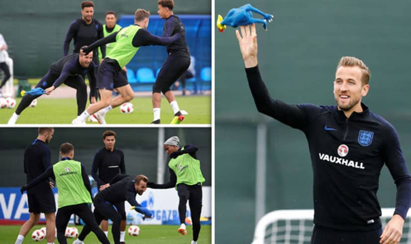 England training with rubber chicken prepraing for World Cup Semin Final vs Croatia