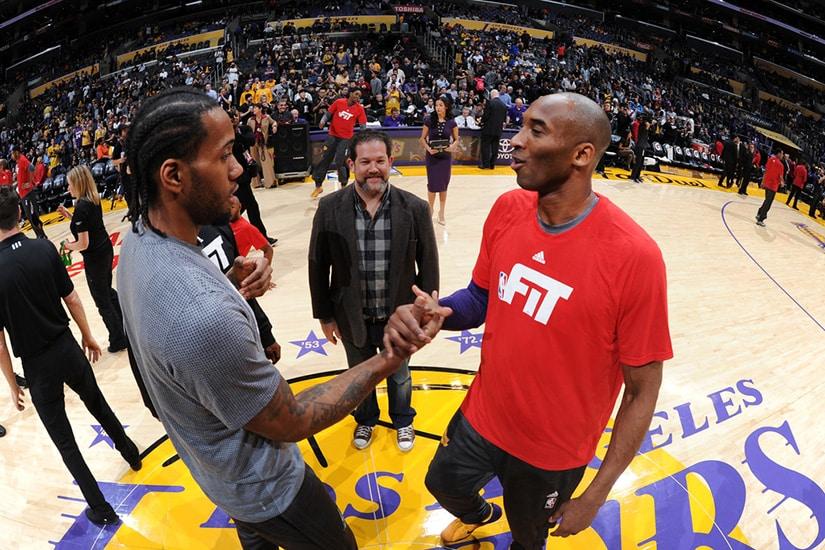 Kawhi Leonard in picutre with Kobe Bryant