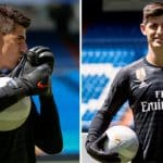 Courtois kissed the Real Madrid badge