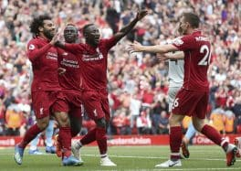 Liverpool celebrates 4-0 win over West Ham on the opening of the Premier League season