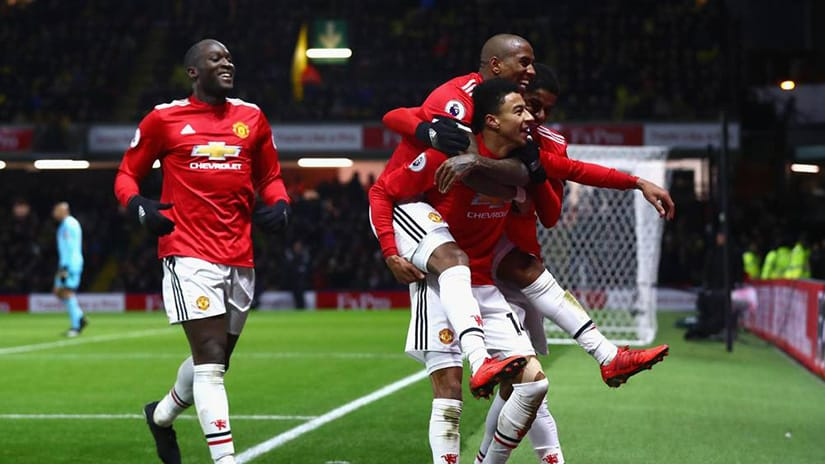 man utd players celebrate - man utd vs watford preview